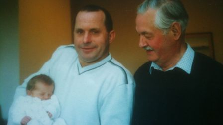 Three generations of the Martyn family. William (centre) with his late-father Stuart and his son, To