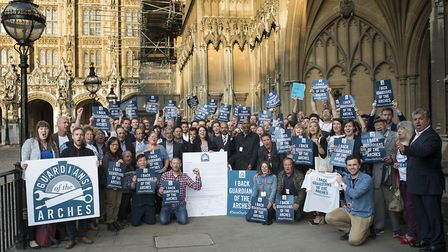 Arches traders outside Parliament. Pic: GUARDIANS OF THE ARCHES