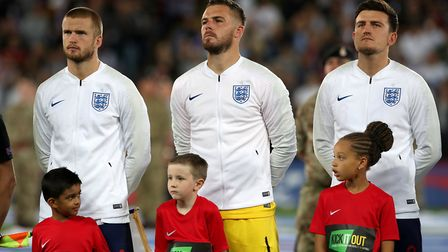 Engalnd's Eric Dier, Jack Butland and Harry Maguire (L-R) before kick-off (pic: Nick Potts/PA Images
