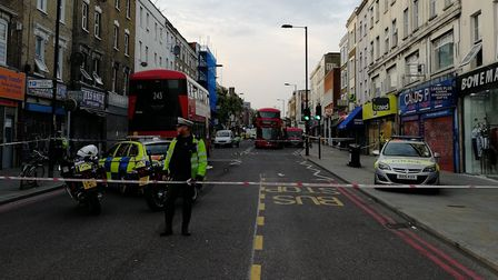 The scene in Kingsland Road after the crash. Picture: David Peat