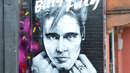 The newly repainted Billy Fury mural in West Hampstead. Picture: Dominic Nicholls / Decca Records