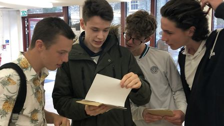 Jonathan Carter, Tyler Hogan, Beau Butterfield and George Manners, collecting their results at Hackn
