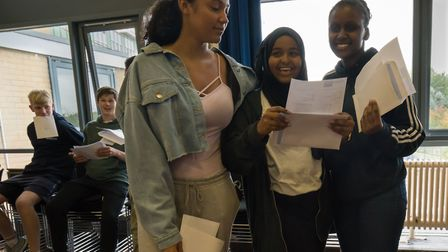 Highgate Wood School students picking up their GCSE results day. Photo by Siorna Ashby