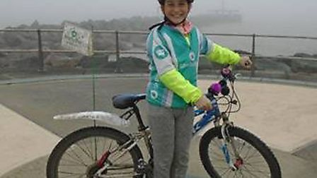 Emily Read, 10, cycled from Land's End to Ness Point and raised thousands of pounds for Shelterbox.