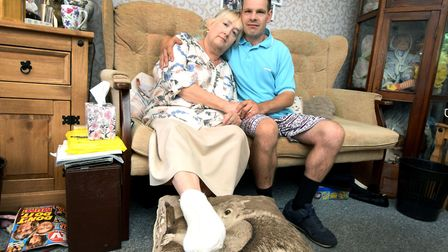 Tina Williams recovers from a toe amputation with her husband Lee, inside the Barnet Council home th