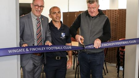 Wingate & Finchley chairman Aron Sharpe (left) with vice-chairman David Thrilling (centre) and Sky S