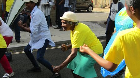 Ann Williams, 88, takes part in the Fit to Fite session. Picture: Darell Philip