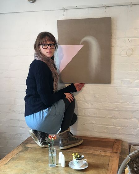 Hannah Luxton, pictured with her painting 'Jump', started Glass Cloud Gallery back in 2013