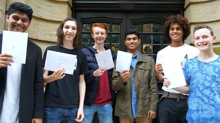 UCS pupils celebrate breaking the school record for the number of top grades received. 66per cent of