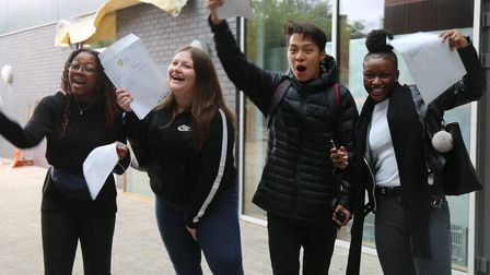 The Urswick School students on GCSE results day.