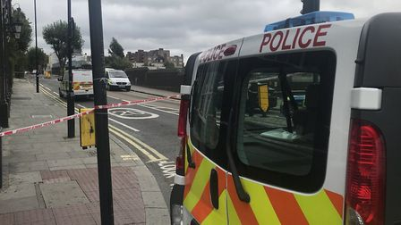 Police have taped off the scene in Kentish Town. Picture: @sajeraj