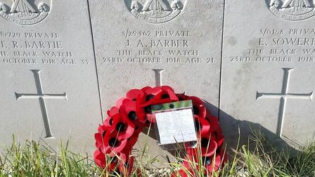 The grave of John Barber in Orcq, Belgium. Picture: Carly Morris