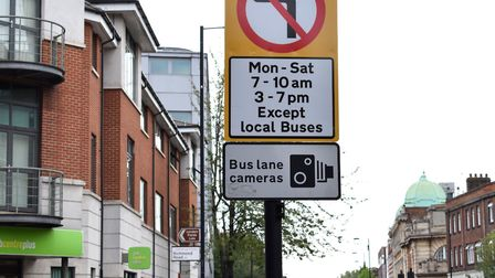 Traffic sign at the junction of Mare Street and Richmond Road, that prohibits vehicles turning left