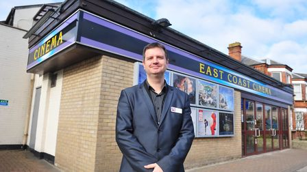 East Coast Cinema, Lowestoft with owner Michael Hansell outside the building.