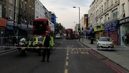The scene in Kingsland High Street after the crash. Picture: David Peat