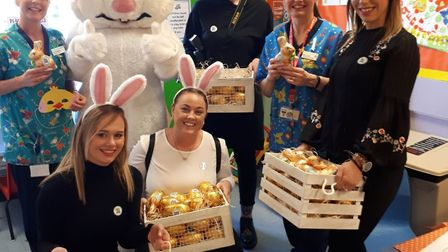 The Easter Bunny was accompanied on his chocolate egg round by employees from Paul Hubbard Estate Ag