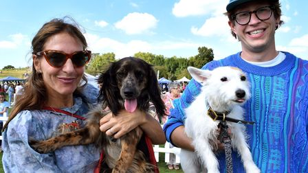 Pup Aid's 'Best Rescue' contenders, Georgie with owner Clara Francis, and Molly with owner Rory Camp