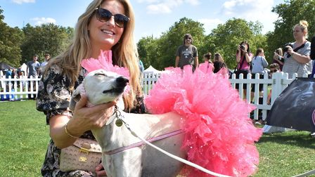 Celebrity judge Penny Lancaster meets Ameerah, who has dressed as Darcy Bussell for Pup Aid. Picture