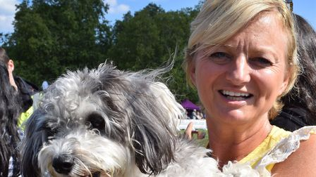 TV presenter Alice Beer with her dog Stanley at Pup Aid. Picture: Polly Hancock