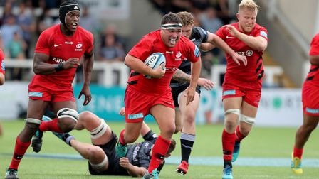 Saracens Jamie George makes a late break during the Gallagher Premiership match at Kingston Park, Ne