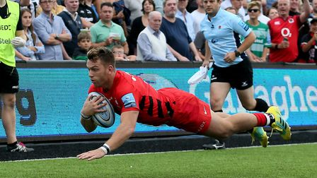 Saracens Alex Lewington scores his try during the Gallagher Premiership match at Kingston Park, Newc