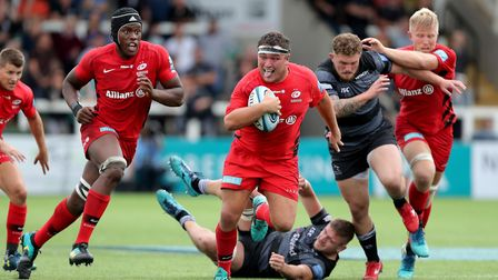 Jamie George embarks on a for Saracens at Newcastle Falcons in the Aviva Premiership (pic: Richard S