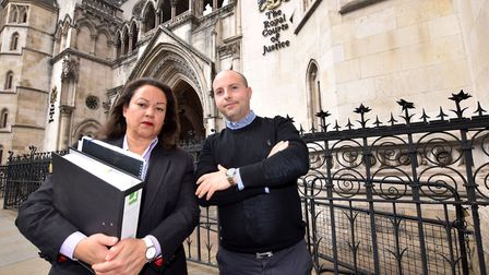 Anti-CS11 campaigners Jessica Learmond-Criqui and Daniel Howard outside the Royal Courts of Justice