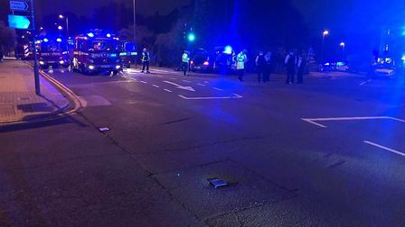 The man was hit by a police car in Golders Green in the early hours of this morning. Picture: @999Lo