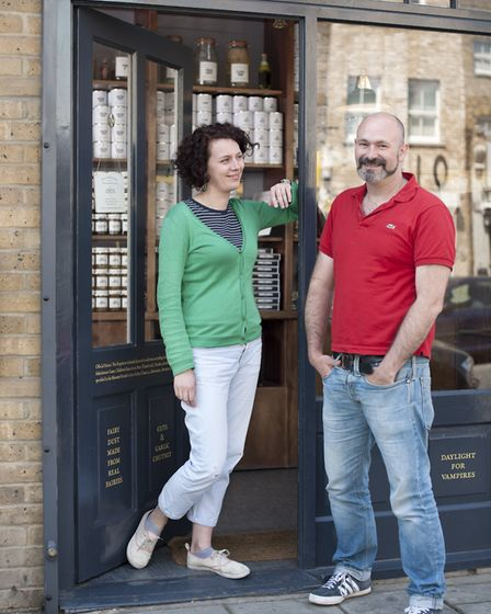 Ministry of Stories co-founders Lucy Macnab and Ben Payne outside the Monster Supplies Shop. Picture