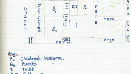 Heather Maisner's childhood drawing of her home's layout