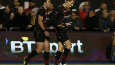 Liam Williams (right) celebrates a try for Saracens (pic: Paul Harding/PA)
