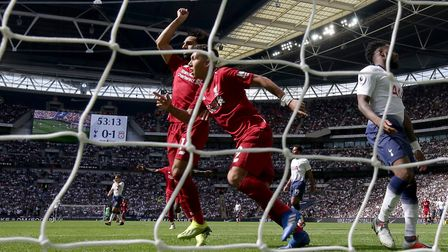 Liverpool's Roberto Firmino (centre) celebrates scoring his side's second goal of the game during th
