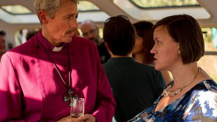 Bishop of Stepney meets Hackney South & Shoreditch MP Meg Hillier aboard the floating church. Pictur