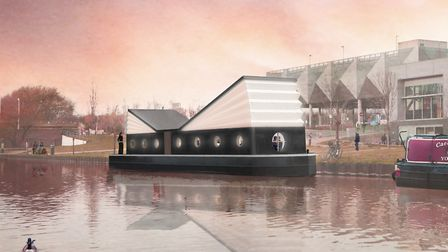 How new permanent floating St Columba Church will look on the River Lea when it's completed in Summe