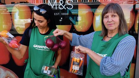 """Greenpeace campaigners highlight """"unnecessary"""" plastic packaging at Camden High Street's Marks and S"""