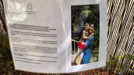 The photo of Nazanin with her daughter was on display in Belsize Park's Garden for Nazanin. Picture: