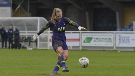 Emma Gibbon fires home from the penalty spot to help Tottenham Hotspur Ladies win their shoot-out wi