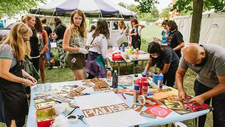 A printing workshop at the Makemore festival in Victoria Park. Picture: Mike Massaro