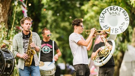 The Heavy Beat Brass Band performs at the Makemore festival in Victoria Park. Picture: Mike Massaro