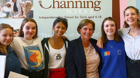 Headteacher Barbara Elliott with GCSE students at The Channing School. Photo by Matthew Pull
