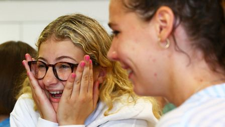 Channing School GCSE student Poppy Oliver on results day. Photo by Matthew Pull