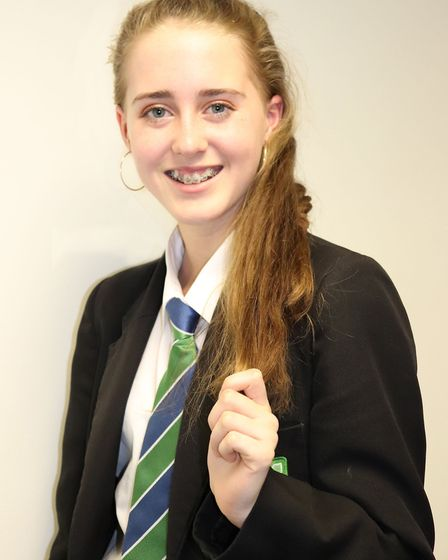 East Point Academy student Hannah Askew, who had her head shaved to raise funds for the Little Princ
