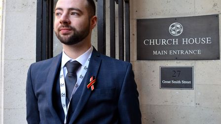 Campaigner Jason Evans at Church House as the preliminary hearings of the Infected Blood Inquiry beg