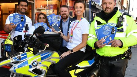 Vodafone and the Met Police launch the Be Safe initiative. From left: Brian Rajasinghe, Aisha Mir, M
