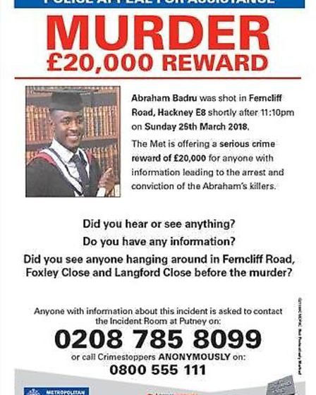 A £20,000 reward is being offered to help catch Abraham Badru's killer