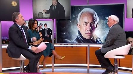 Simon Callow is interviewed by Piers Morgan and Simon Callow. Photograph: ITV/Good Morning Britain.