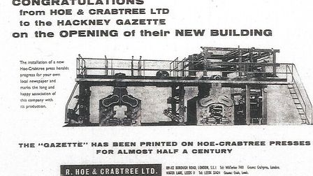 Hoe and Crabtree congratulates the Gazette on the new office, and the printing press they built.