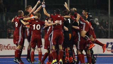 Great Britain's under-21s celebrate (Pic Megat Firdaus/England Hockey)