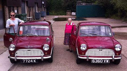 Simone and her landlady Mrs Rogers with their matching Minis.