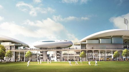 A view of the new Compton and Edrich Stands from the Nursery Ground. Picture: WilkinsonEyre